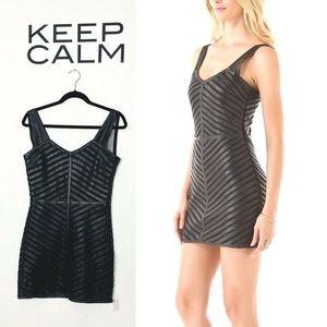 Parker Strappy Leather Mesh Panel Mini Dress Black